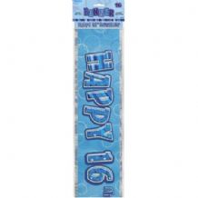 'Birthday Glitz 16 Blue' 12FT Foil Banner